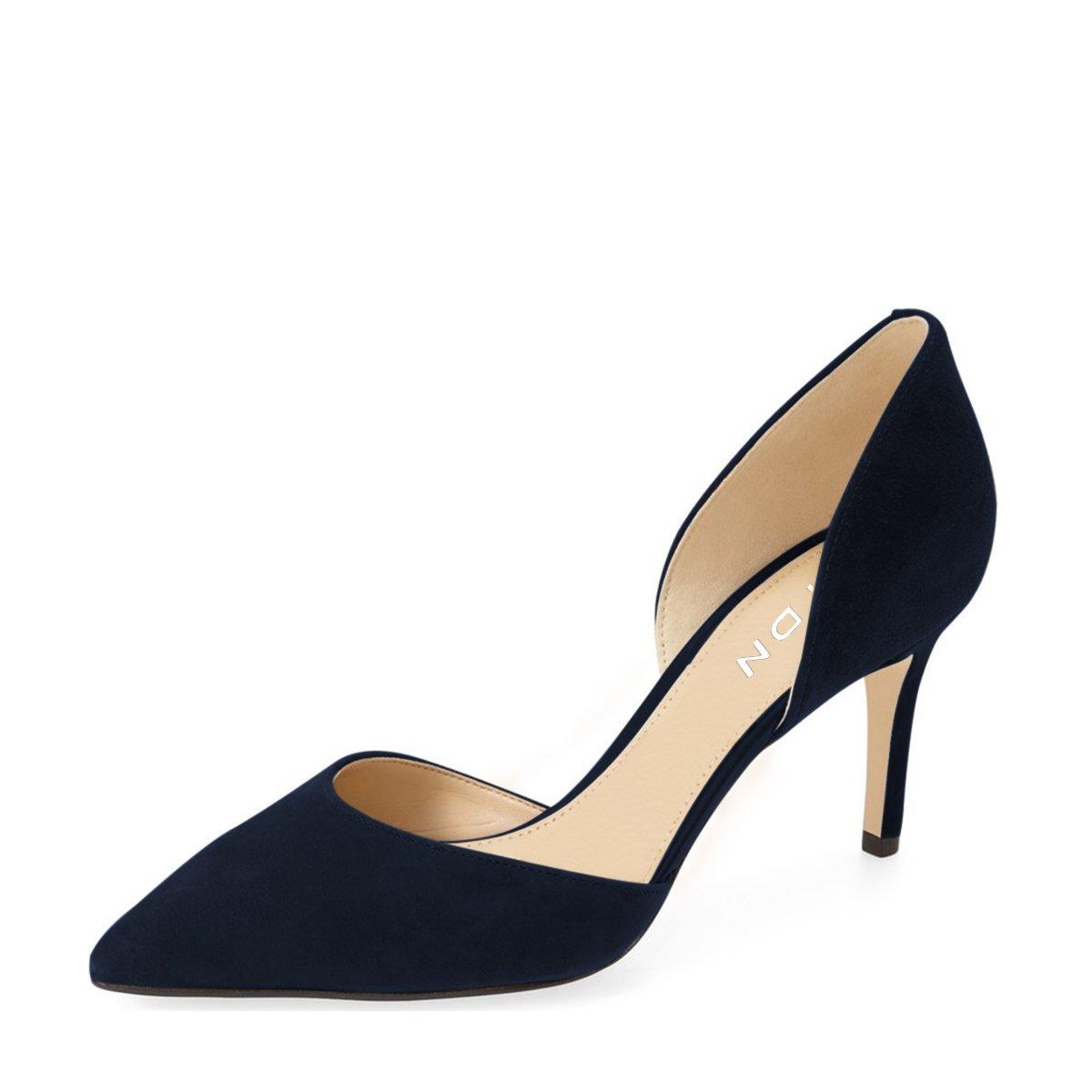 YDN Women Classic Low Heels D'Orsay Pumps Suede Pointed Toe Slip On Dressy Stilettos Shoes B01N1RUU28 6 B(M) US|Dark Blue