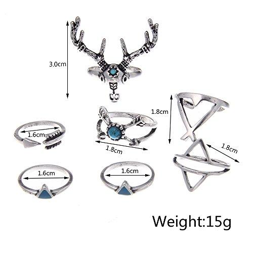 Lureme Vendimia turca ciervo ciervo turquesa triángulo conjunto nudillo clavo conjunto de anillo de 7 (rg001827)