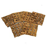 Kuber Industries™ Square Bamboo Table Coaster, Pan Pot Holder, 17 x 17 cm, 6 Piece Set (Check Design)