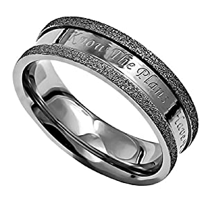 I Know The Plans Silver Stainless Steel Champagne Ring With Verse Jeremiah 29:11