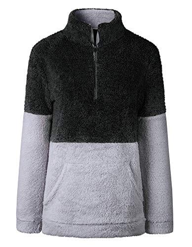 BTFBM Women Long Sleeve Zipper Sherpa Sweatshirt Soft Fleece Pullover Outwear Coat with Pockets (Black, Small) - Ladies Hoody Pullover Sweatshirt