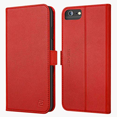 iPhone 6S Plus Case iPhone 6 Plus case ZOVER Genuine Leather Case Wallet Cover with Kickstand Feature Card Slots & ID Holder and Magnetic Clasps for iPhone 6 Plus iPhone 6S Plus Red