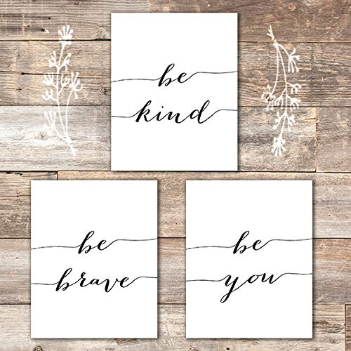 Be Kind Be Brave Be You Art Prints (Set of 3) - Unframed - 8x10 | Inspirational Wall ()