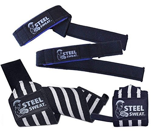 "Steel Sweat Wrist Wraps - Best for Weight Lifting, Powerlifting, Gym and Crossfit Training - Heavy Duty Support - Black: 18"" Wraps & 22"" Straps"