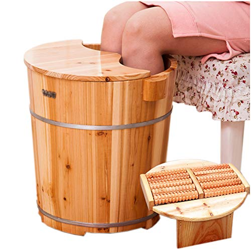 Pedicure Basin,Aromatherapy Wooden Covered Foot Tub,High 40CM Thick Solid Wood Foot Massage Water Saving Foot Bath Barrel,Family Adult Health Care and Beauty,Reduce Fatigue and Improve Sleep,Packaged (Bucket Bath Wood)