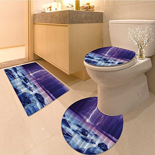 Yell Fabric - 3 Piece Toilet Cover setArtsy Great Shark Sea Fun ls Scary for Men Cave Ideas Digita Prints Fabric White Yell Extra Soft Memory Foam Combo - Rug, Contour Mat and Lid Cover