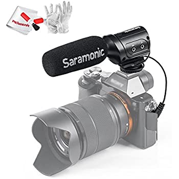 Saramonic SR-M3 Battery-Free Operation Mini Directional Condenser Microphone with Integrated Shockmount +10dB Audio Gain Switches for DSLR Cameras Camcorders with Pergear Cleaing Kit