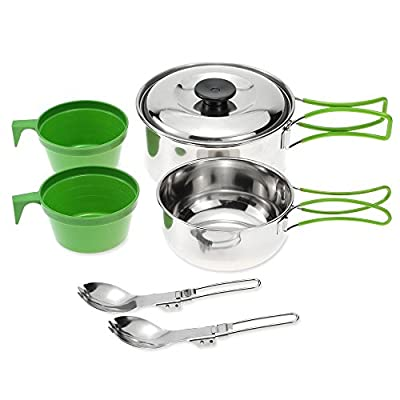 Cookware Set Stainless Steel Cook Set Backpacking Cooking Picnic Bowl Pot Set Outdoor Camping Hiking Tableware