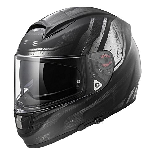 LS2 Helmets Citation Vantage Full Face Motorcycle Helmet with Sunshield (Matte Black/Red, Large)