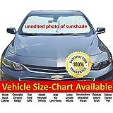 Parabrisas Sun Shade/Car Sun Shade para coche 210T Nylon de primera calidad con cordeles de valija diplomática grueso para fácil almacenamiento, Plateado, Negro
