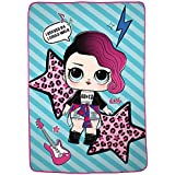 "L.O.L. Surprise! Rocker Character Soft Plush Microfiber Kids Bedding Blanket Twin/Full Size 62"" x 90"" Blue/Pink"