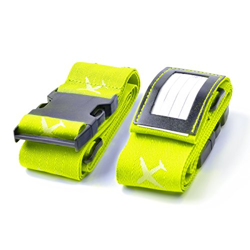 Beschan Luminous Suitcases Cross Luggage Strap Travel Belt Tags (Young Green)