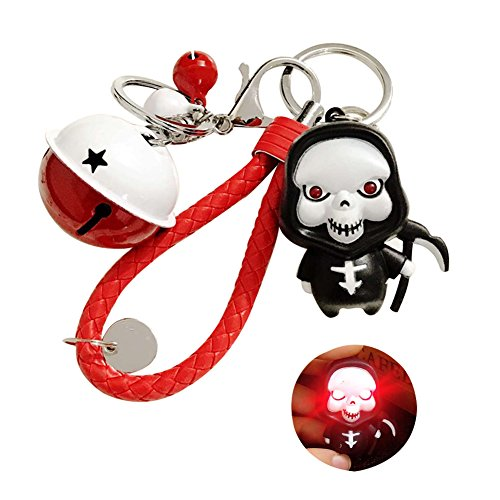 - TSJ LED Vocal Imp Grim Reaper Braided Strap Jingle Bells Decorated Snap Hook Lobster Claw Clasp Key Chains for Home Car Key Organizing, Halloween Party Supplies