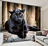 Newrara Ferocious Crouching Panther Printing 3D Blackout Curtain 2 Panels For Living Room&Bedroom,Free Hook Included (80W63''L, Black)