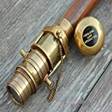 Chainmail Hub Wooden folding Walking Cane Stick with Hidden spy Brass Telescope on Handle new
