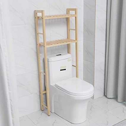 EBTOOLS Estante de Almacenamiento de Madera de 2 Niveles para Baño WC Encima del Inodoro Retrete Organizador Compacto