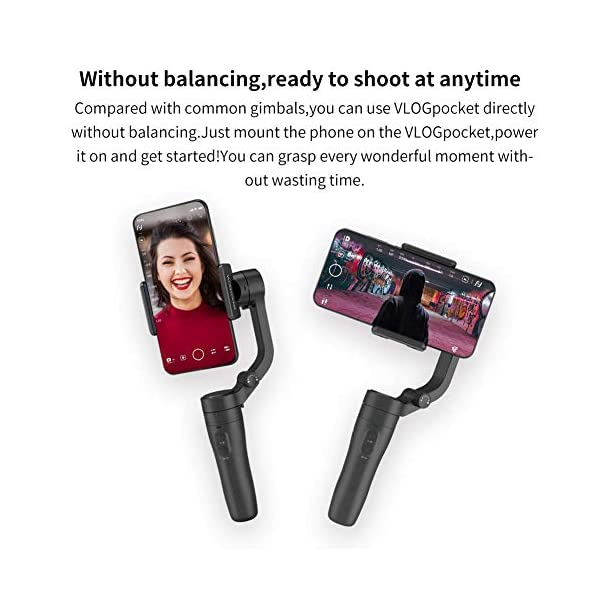 FeiyuTech VLOGpocket a 3 assi - Stabilizzatore portatile per Smartphone IPhone Sumsung Huawei XiaoMi con mini treppiede - Scuro 4 spesavip