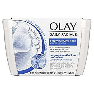 Olay Daily Facial Cleansing Cloths Tub for a Deeply Purifying Clean Makeup Remover, 33 ct