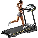 Julyfox Treadmill W/Incline 18 inch Extra Wide Belt, 2.25 HP Motor Electric Treadmill Running Walking Jogging Machine Fold Up W/Heart Rate Monitor Cup Holder Safety Key Quiet Home Exercise Soft Drop