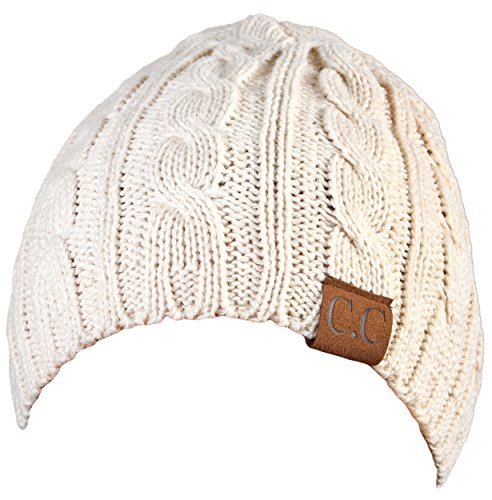 H-6031a-60 - Girls Cable Knit Beanie - Beige