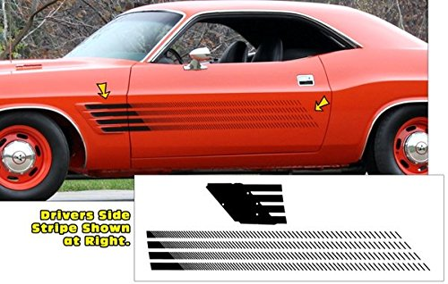 Side Stripe Kit - 1970 1971 1972 1973 1974 Dodge Challenger Rallye Side Stripes Kit in Flat Black by Southern Car Parts