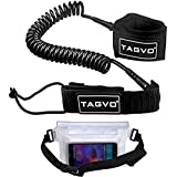 Tagvo Sup Leash Coiled 10' Super Strong 7mm Cord with Waterproof Waist Pouch, Comfortable Padded Neoprene Ankle Cuff Stand up Paddle Board Leash with Double Swivels Anti-rust, Flexible Surfboard Leash