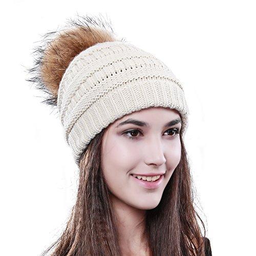 d4fbc444b07 Womens Winter Knit Beanie Hat Slouchy Skull Cap Real Fur Pom Pom Hats Cap  For Girls