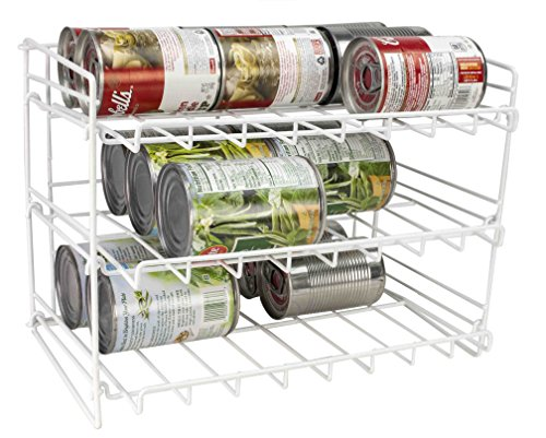 Home Basics Supreme Metal 3-Tier Can Rack Organizer Holder, White (Can Rack Storage compare prices)