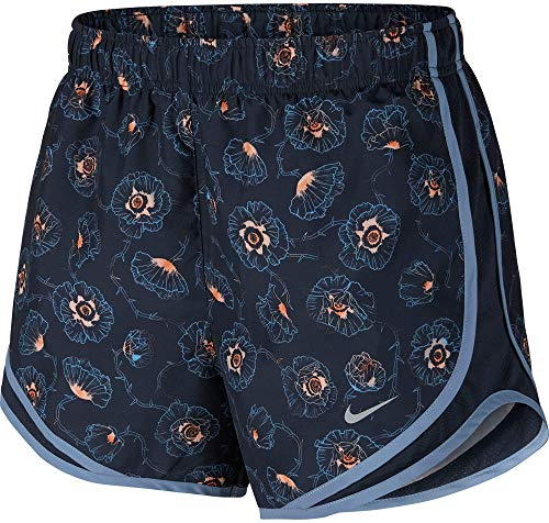 Nike Women's Dry Tempo Short (Blue/Floral Printed, Small)