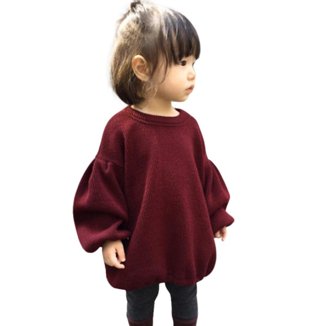 Kehen Baby Girl Spring Winter Fashion Wine Solid Color Woolen Sweater Lantern Sleeve Thin Shirt
