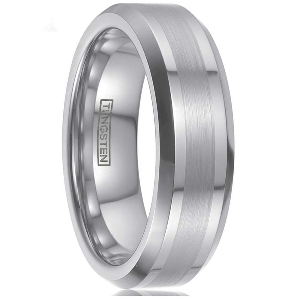 Personalized Engraved 6mm/8mm Silver Tungsten Wedding Band w/ 1/2 Brushed Finish Band & Beveled Edges. (Tungsten (6mm), 10.5)