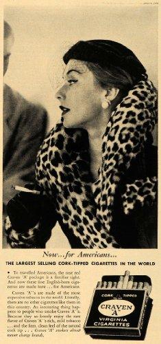 1951 Ad Cork Tipped Cigarettes Craven Tobacco Virginia - Original Print Ad (Virginia Cigarettes)