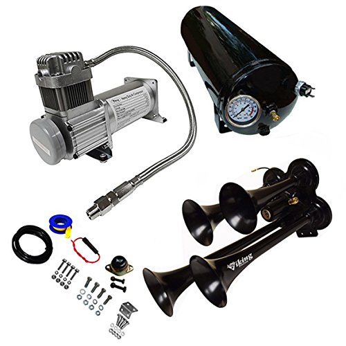 Viking Horns V101C-3/4008B Loud 149 Decibels 150PSI Black Air Horn Kit with 1.5 Gallon Air Tank