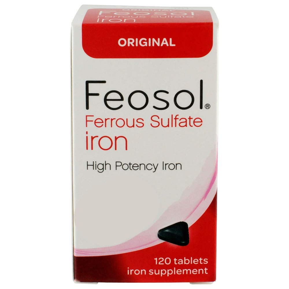 Feosol Original 65 mg High Potency Ferrous Sulfate Iron Supplement 120ct