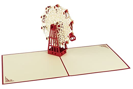 2 opinioni per Origamo AC018- Biglietto Auguri, Ruota Panoramica, Origami, Pop Up, 15 x 15 cm
