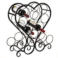 MyGift 12-Bottle Metal Heart-Shaped Countertop Wine Rack Holder with Scrollwork Design