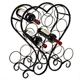 12-Bottle Metal Heart-Shaped Countertop Wine Rack Holder with Scrollwork Design