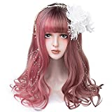Bleaching Hair From Black To Red - Long Wavy Red Ombre Wig Bangs - Colorful Cosplay Costumes Highlight Wigs For Women with Dark Roots, Natural Looking Synthetic Lolita Hair For Halloween, Theme Parties and Daily
