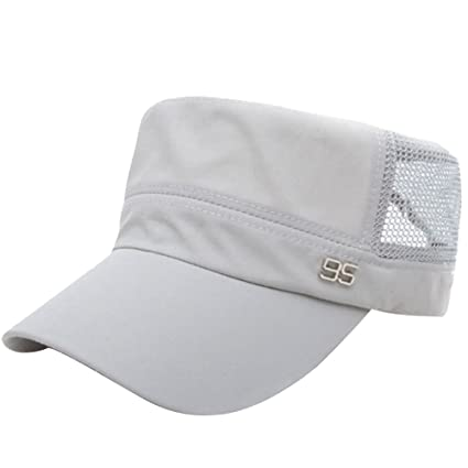 59baed042bf Unisex Summer Flat Top Sun Hat Adjustable Breathable Quick Dry Sun Visor  Caps for Men Women Military Army Running Golf Outdoor Sport Gray   Amazon.ca  Home   ...