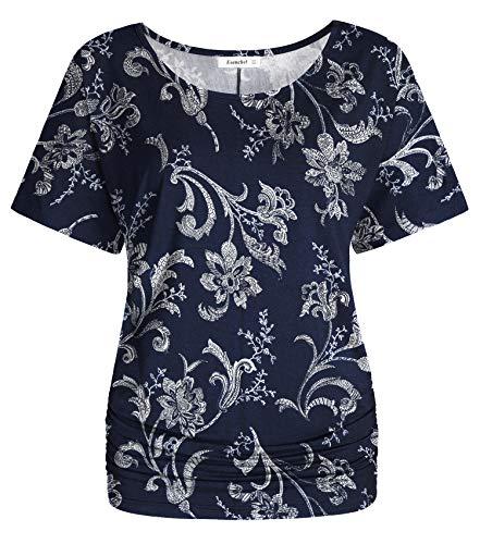 Esenchel Women's Short Sleeve Dolman Top Scoop Neck Drape Shirt M Navy Blossom