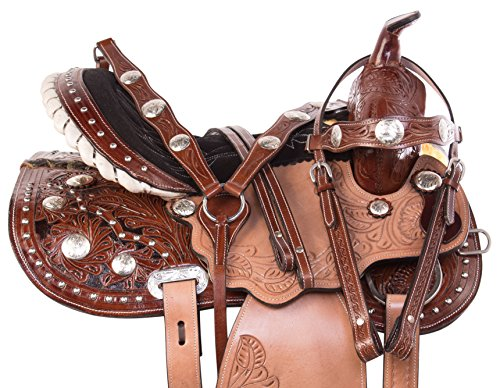 AceRugs 14 15 16 PREMIUM BROWN LEATHER WESTERN TOOLED CRYSTAL SHOW BARREL RACING TRAIL HORSE SADDLE TACK PACKAGE (Tooled Leather Seat)