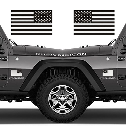 Jeep Magnets - Classic Biker Gear Ghosted Subdued American Flags Tactical Military Flag USA Decal Jeep 3