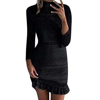 6f1d5506cec4 kemilove Sleeve Lace Bodycon Scalloped Knee Length Cocktail Party Dress for Women  Black