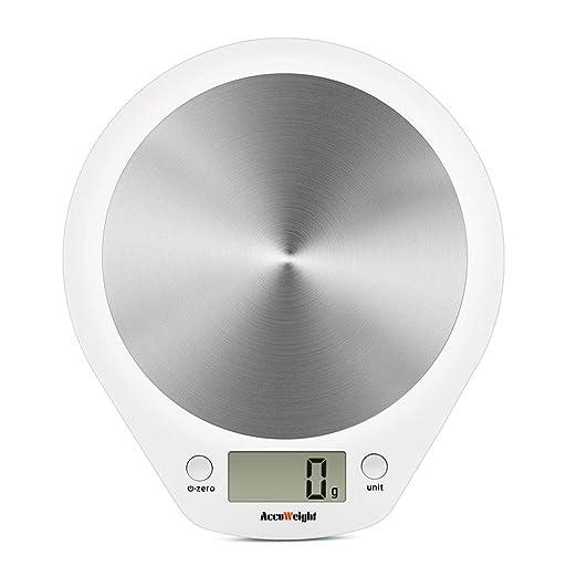 ACCUWEIGHT Báscula de Cocina Digital Balanza Alimentos Electrónica con Plataforma de Acero Inoxidable para Peso de Comida, 5 kg/11lbs, Blanco