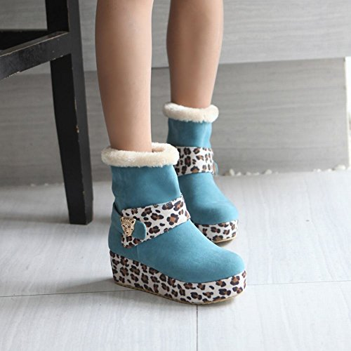 Boots Chic Mid Wedge Weather Heel Leopard Winter Cold Latasa Boots Womens Print Blue Platform Snow Short 5wXqUw6Yx