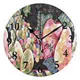 NMCEO Round Wall Clock Apple Apples Black Red Strawberry Fruit Acrylic Original Clock for Home Decor Creative