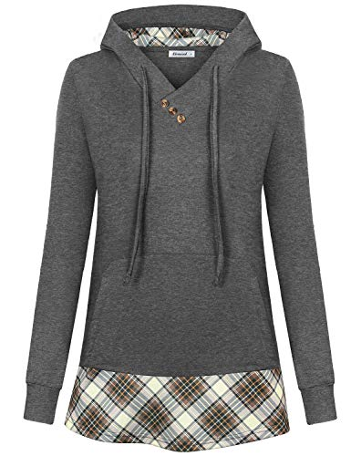 Classic Drawstring Sweatshirt - Altelime Hoodies for Women, Juniors V Neck Lightweight Sweatshirt Tunic Patchwork Plaid Shirts A Line Flare Hem Casual Business Clothes Classic Hoodie Drawstring Hooded Sweaters Grey XXL