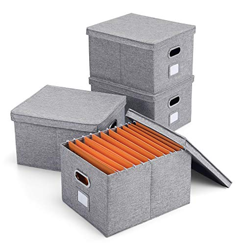 (Magicfly Collapsible File Box with Lid and Metal Handle, Pack of 4, Decorative Documents Storage Organizer with Linen Filing, Home & Office Bin, Letter and Legal, Gray, Bonus 10 Hanging File Folders)