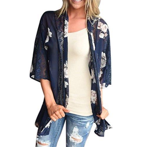(Ladies Shawl Mose Women Lace Montage Floral Print Beach Chiffon Loose Shawl (Size:XL, Blau))