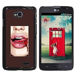 Paccase / SLIM PC / Aliminium Casa Carcasa Funda Case Cover para - Blood Lips Tongue Sexy White Teeth - LG Optimus L70 / LS620 / D325 / MS323